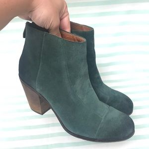 Vince Camuto Dark Green Suede Leather Booties
